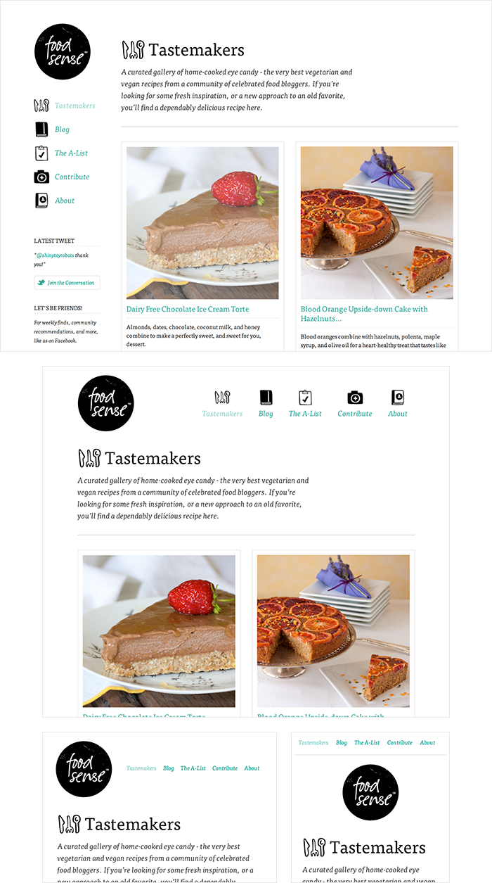 Food Sense Responsive Layout