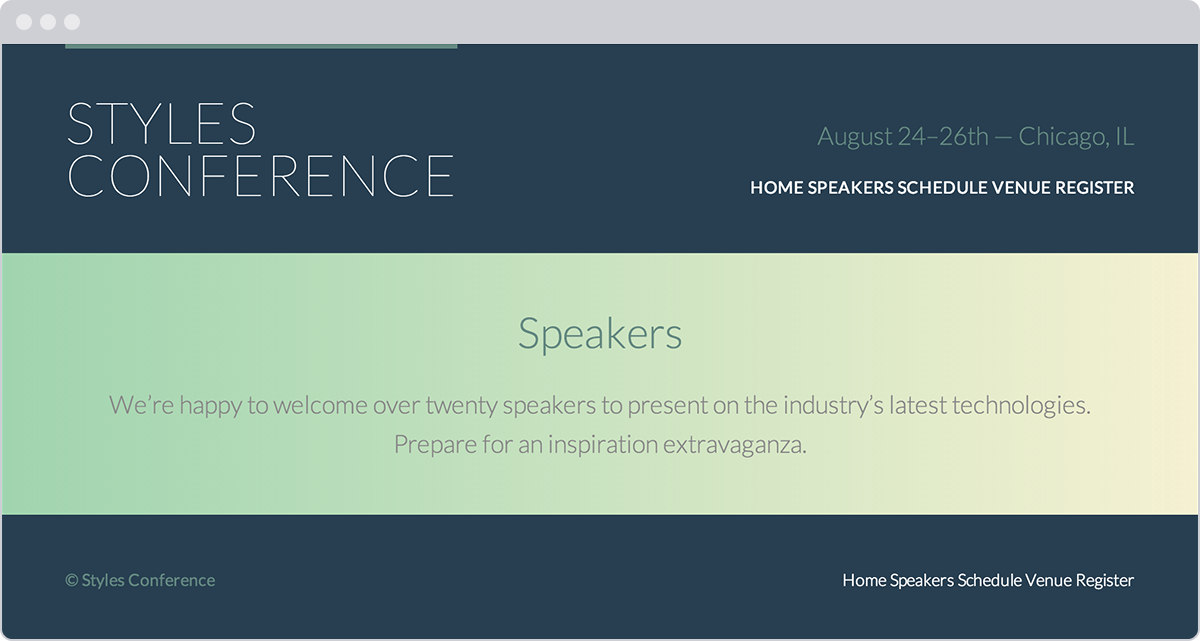 styles conference website - Page Color Html
