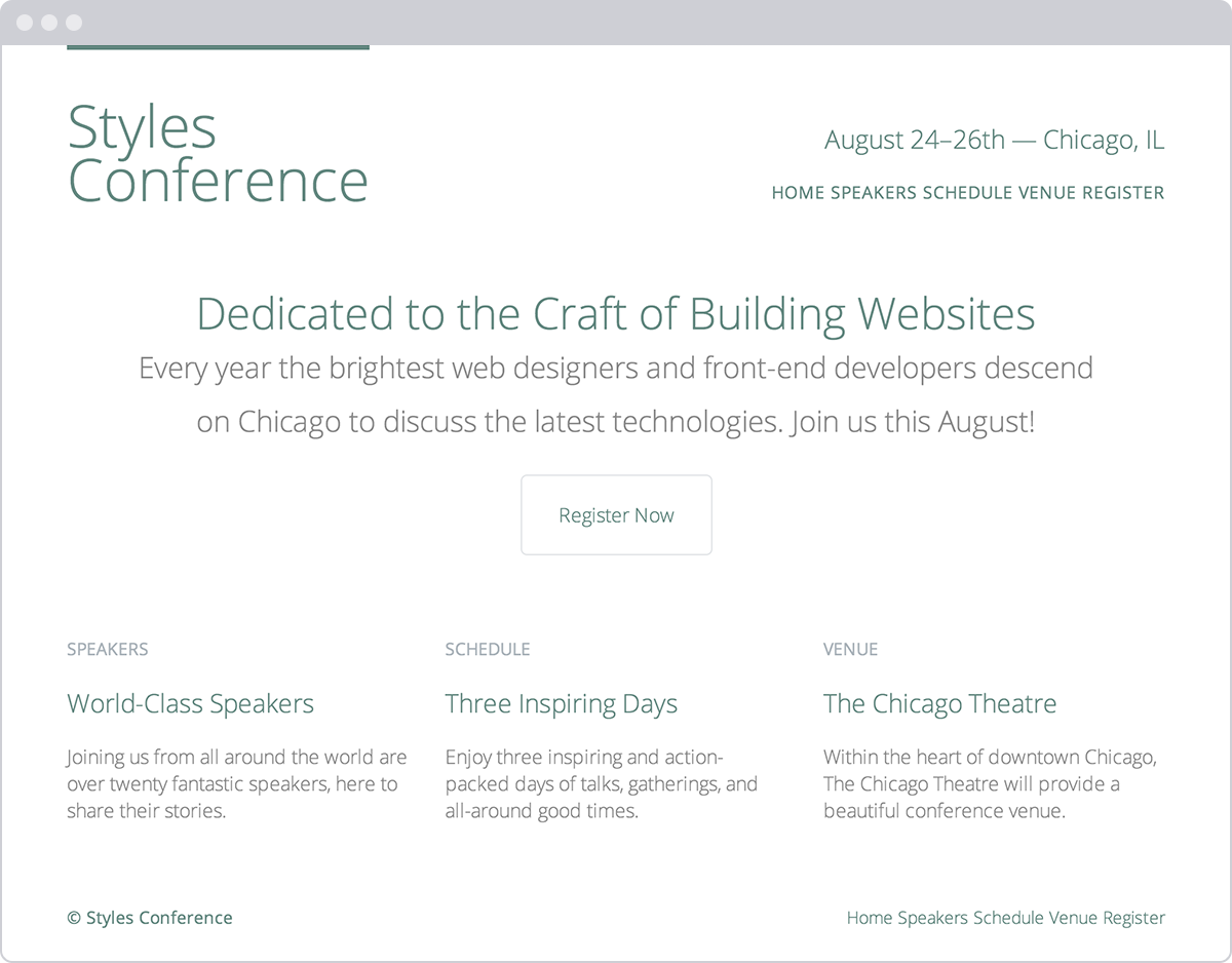 Styles Conference website